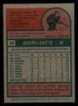 1975 Topps Mini #36  Joe Lovitto  Back Thumbnail
