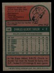 1975 Topps Mini #58  Chuck Taylor  Back Thumbnail