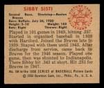 1950 Bowman #164  Sibby Sisti  Back Thumbnail