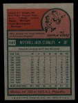 1975 Topps Mini #141  Mickey Stanley  Back Thumbnail