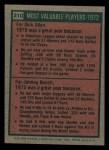 1975 Topps Mini #210   -  Rich Allen / Johnny Bench 1972 MVPs Back Thumbnail