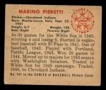 1950 Bowman #181 ^CR^ Marino Pieretti  Back Thumbnail