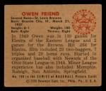 1950 Bowman #189  Owen Friend  Back Thumbnail