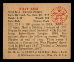 1950 Bowman #194 CPR Billy Cox  Back Thumbnail