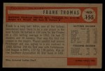 1954 Bowman #155  Frank Thomas  Back Thumbnail