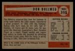 1954 Bowman #115  Don Bollweg  Back Thumbnail