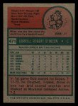 1975 Topps Mini #471  Bob Stinson  Back Thumbnail
