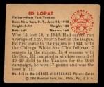 1950 Bowman #215  Eddie Lopat  Back Thumbnail