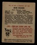 1948 Bowman #47  Bob Mann  Back Thumbnail