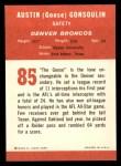 1963 Fleer #85  Austin Goose Gonsoulin  Back Thumbnail