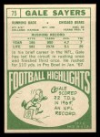 1968 Topps #75  Gale Sayers  Back Thumbnail