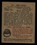 1948 Bowman #34  Joe Fulks  Back Thumbnail