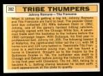 1963 Topps #392   -  Johnny Romano / Tito Francona Tribe Thumpers   Back Thumbnail
