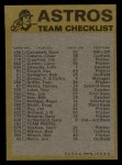1974 Topps Red Checklist   Astros Back Thumbnail