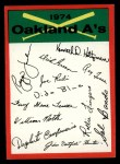 1974 Topps Red Team Checklists #18   A's Team Checklist Front Thumbnail