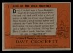 1956 Topps Davy Crockett #1 ORG  King of the Wild Frontier     Back Thumbnail