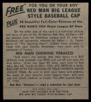 1954 Red Man #20 NL Johnny Logan  Back Thumbnail