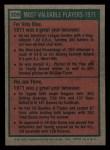 1975 Topps Mini #209   -  Vida Blue / Joe Torre 1971 MVPs Back Thumbnail