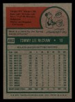 1975 Topps Mini #482  Tom McCraw  Back Thumbnail
