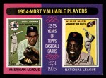 1975 Topps Mini #192   -  Yogi Berra / Willie Mays 1954 MVPs Front Thumbnail