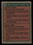 1975 Topps Mini #200   -  Mickey Mantle / Maury Wills 1962 MVPs Back Thumbnail
