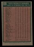 1975 Topps Mini #463   -  Rollie Fingers 1974 World Series - Game #3 Back Thumbnail