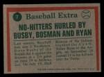 1975 Topps Mini #7  Nolan Ryan / Steve Busby / Dick Bosman  Back Thumbnail