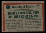 1975 Topps Mini #1  Hank Aaron  Back Thumbnail