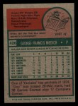 1975 Topps #426  George Medich  Back Thumbnail