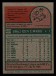 1975 Topps Mini #493  Don Stanhouse  Back Thumbnail