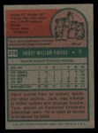 1975 Topps #214  Harry Parker  Back Thumbnail