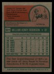 1975 Topps #501  Bill Robinson  Back Thumbnail