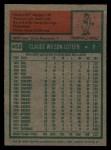 1975 Topps #453  Claude Osteen  Back Thumbnail
