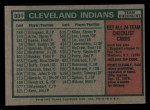 1975 Topps Mini #331   -  Frank Robinson Indians Team Checklist Back Thumbnail