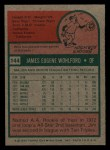 1975 Topps Mini #144  Jim Wohlford  Back Thumbnail