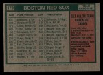 1975 Topps Mini #172   -  Darrell Johnson Red Sox Team Checklist Back Thumbnail
