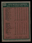 1975 Topps Mini #465   -  Joe Rudi / Ron Cey 1974 World Series - Game #5 Back Thumbnail