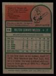 1975 Topps Mini #14  Milt Wilcox  Back Thumbnail