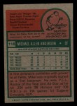 1975 Topps Mini #118  Mike Anderson  Back Thumbnail