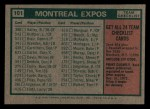 1975 Topps Mini #101   -  Gene Mauch Expos Team Checklist Back Thumbnail