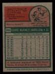 1975 Topps Mini #395  Bud Harrelson  Back Thumbnail