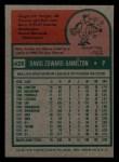 1975 Topps Mini #428  Dave Hamilton  Back Thumbnail