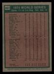 1975 Topps Mini #461   -  Reggie Jackson 1974 World Series - Game #1 Back Thumbnail