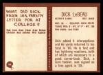 1967 Philadelphia #66  Dick LeBeau  Back Thumbnail