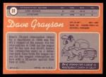 1970 Topps #31  Dave Grayson  Back Thumbnail