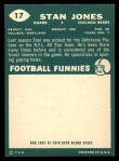 1960 Topps #17  Stan Jones  Back Thumbnail