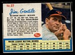 1962 Post Cereal #27 BAL Jim Gentile   Front Thumbnail
