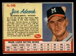 1962 Post #145 COR Joe Adcock  Front Thumbnail