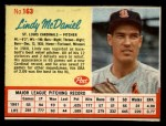 1962 Post #163  Lindy McDaniel   Front Thumbnail