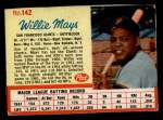 1962 Post Cereal #142  Willie Mays   Front Thumbnail